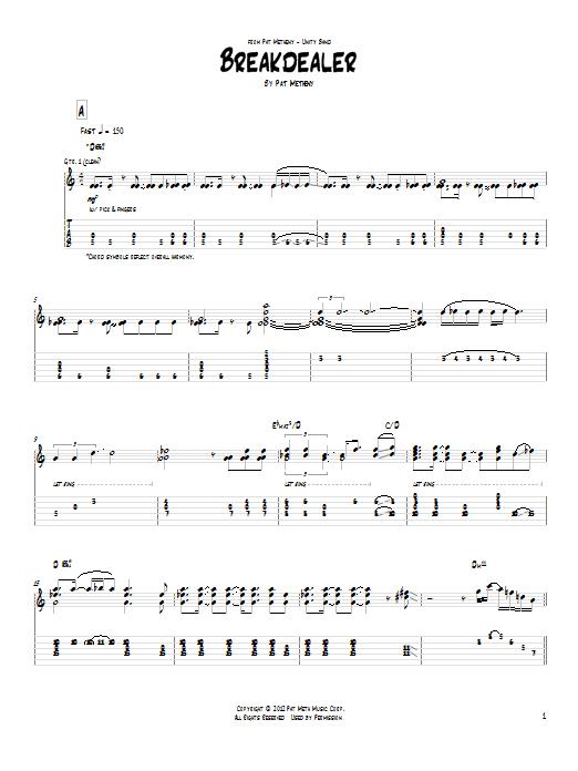 Pat Metheny Breakdealer sheet music notes and chords. Download Printable PDF.