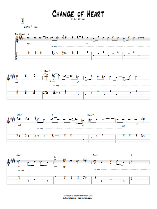 Pat Metheny Change Of Heart sheet music notes and chords. Download Printable PDF.