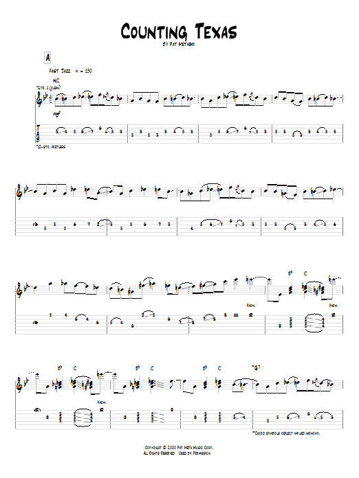 Pat Metheny Counting Texas sheet music notes and chords. Download Printable PDF.