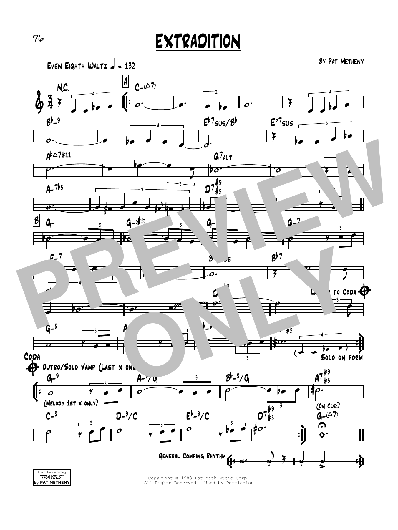 Pat Metheny Extradition sheet music notes and chords. Download Printable PDF.