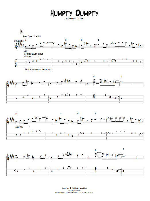 Pat Metheny Humpty Dumpty sheet music notes and chords. Download Printable PDF.