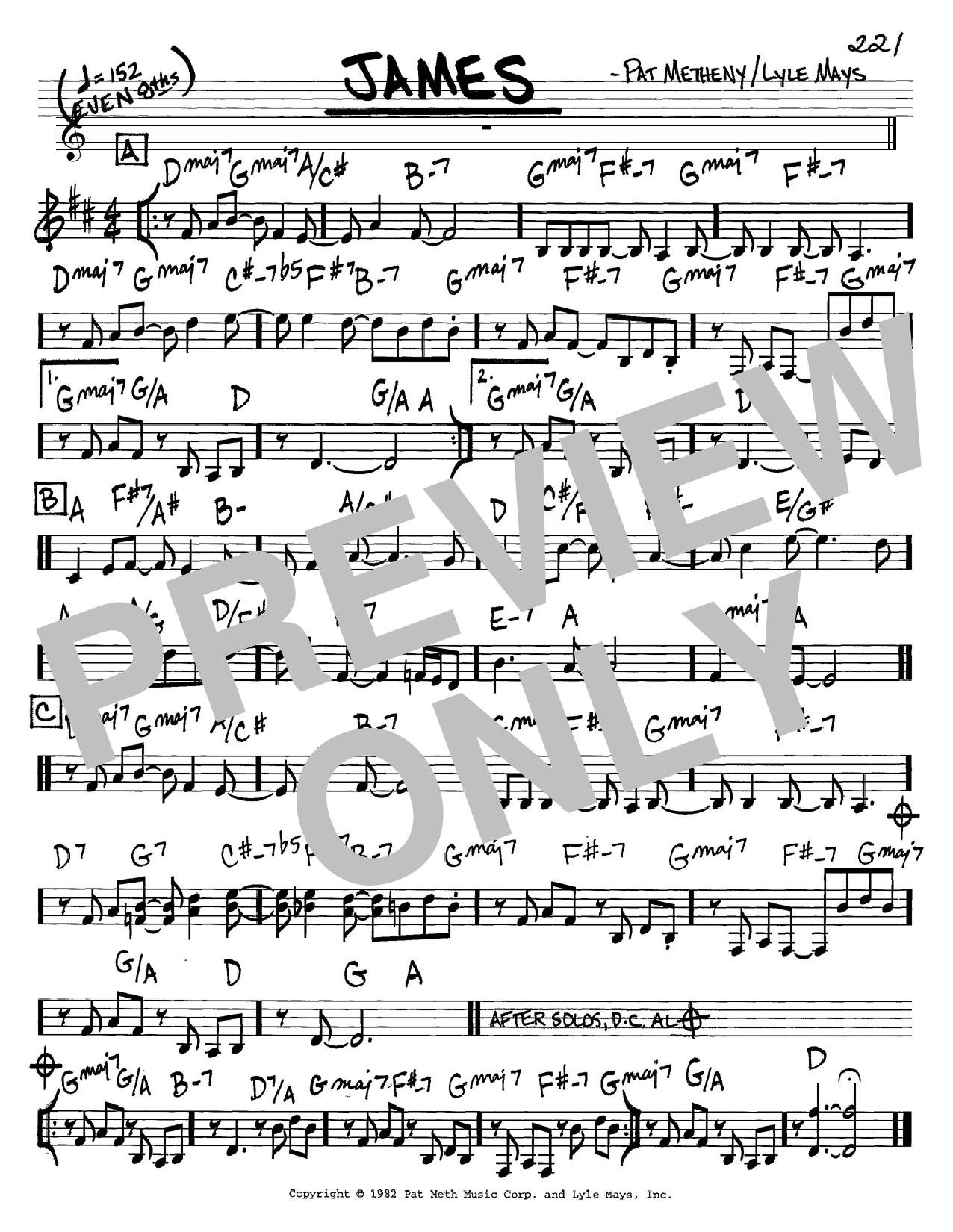 Pat Metheny James sheet music notes and chords