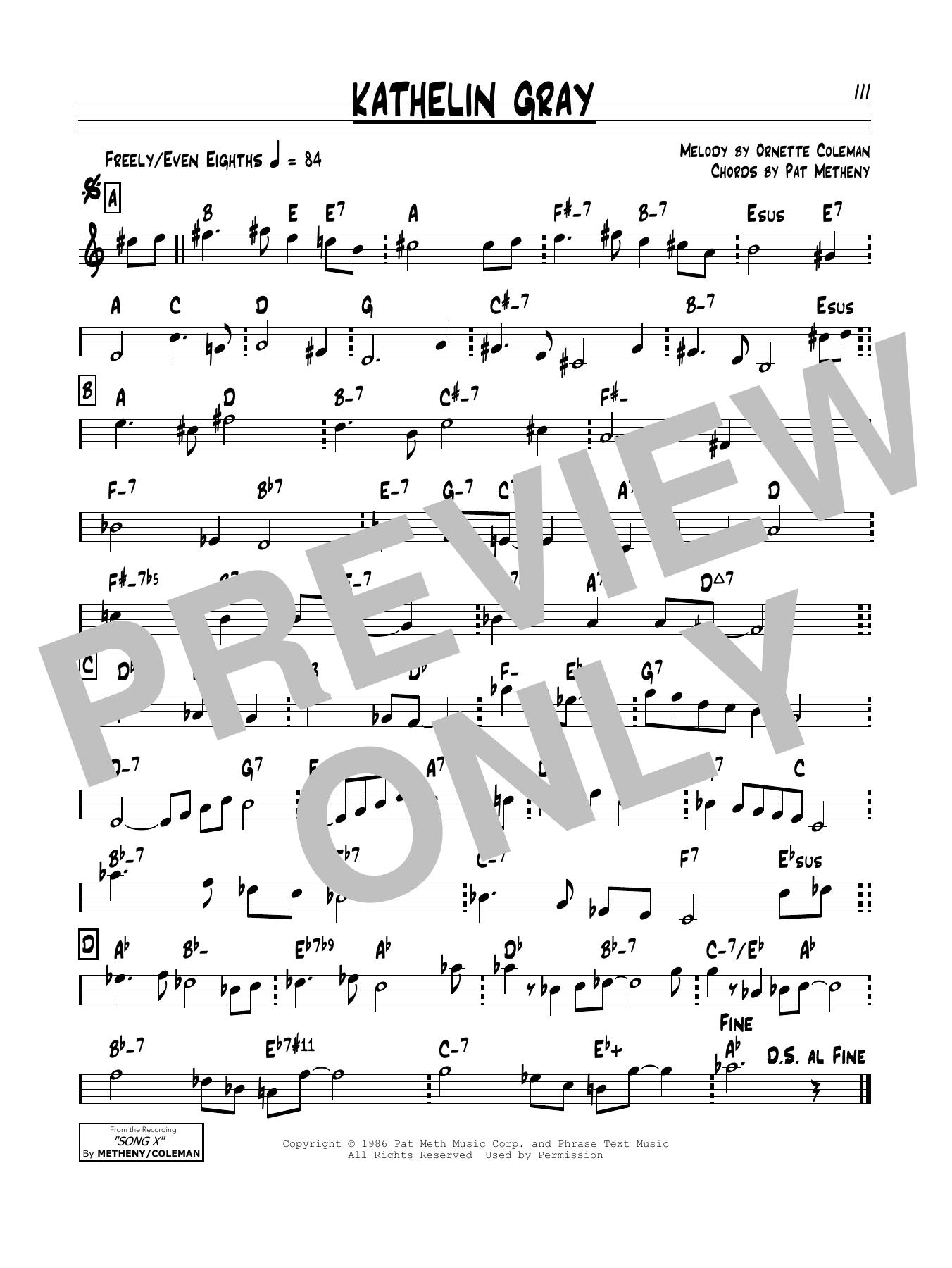 Pat Metheny Kathelin Gray sheet music notes and chords. Download Printable PDF.