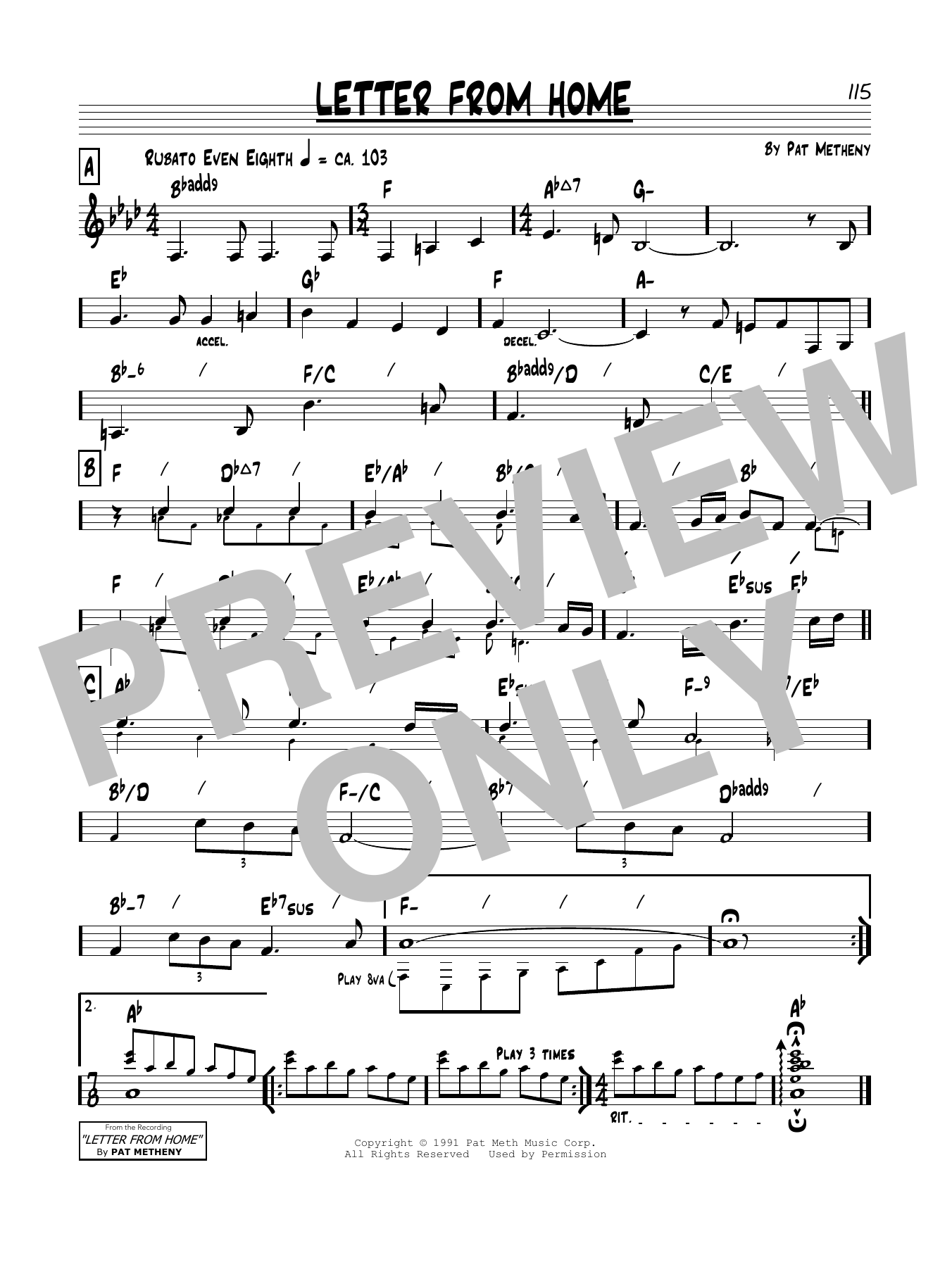 Pat Metheny Letter From Home sheet music notes and chords. Download Printable PDF.