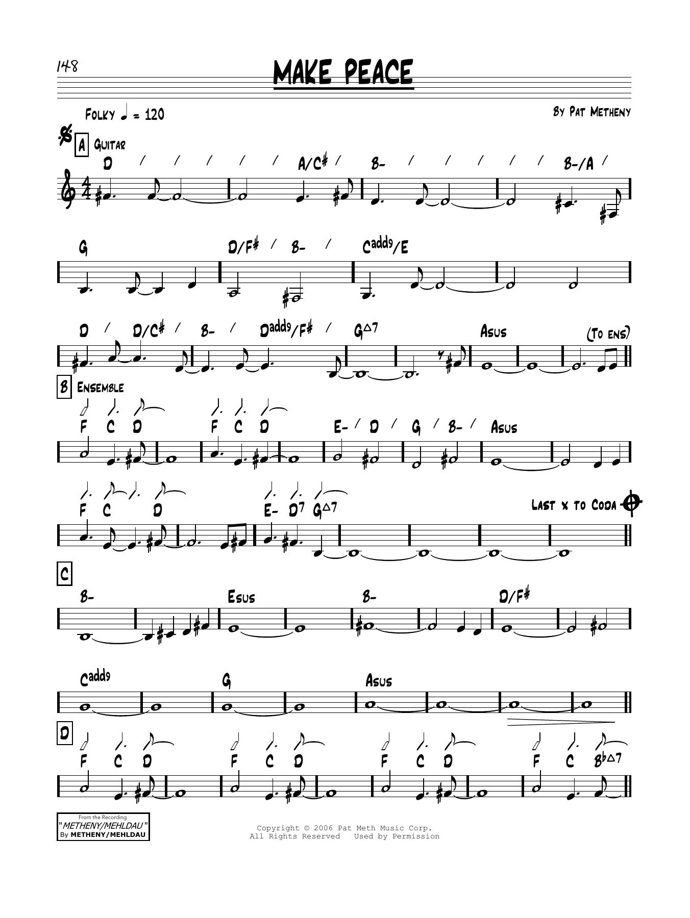 Pat Metheny Make Peace sheet music notes and chords. Download Printable PDF.