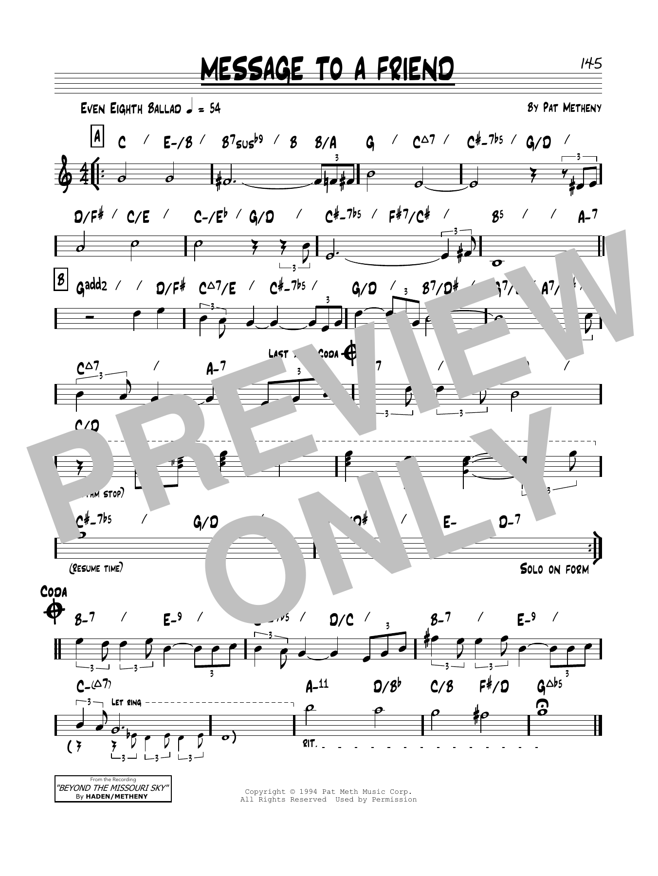 Pat Metheny Message To A Friend sheet music notes and chords. Download Printable PDF.