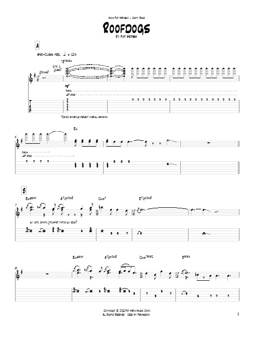 Pat Metheny Roofdogs sheet music notes and chords. Download Printable PDF.