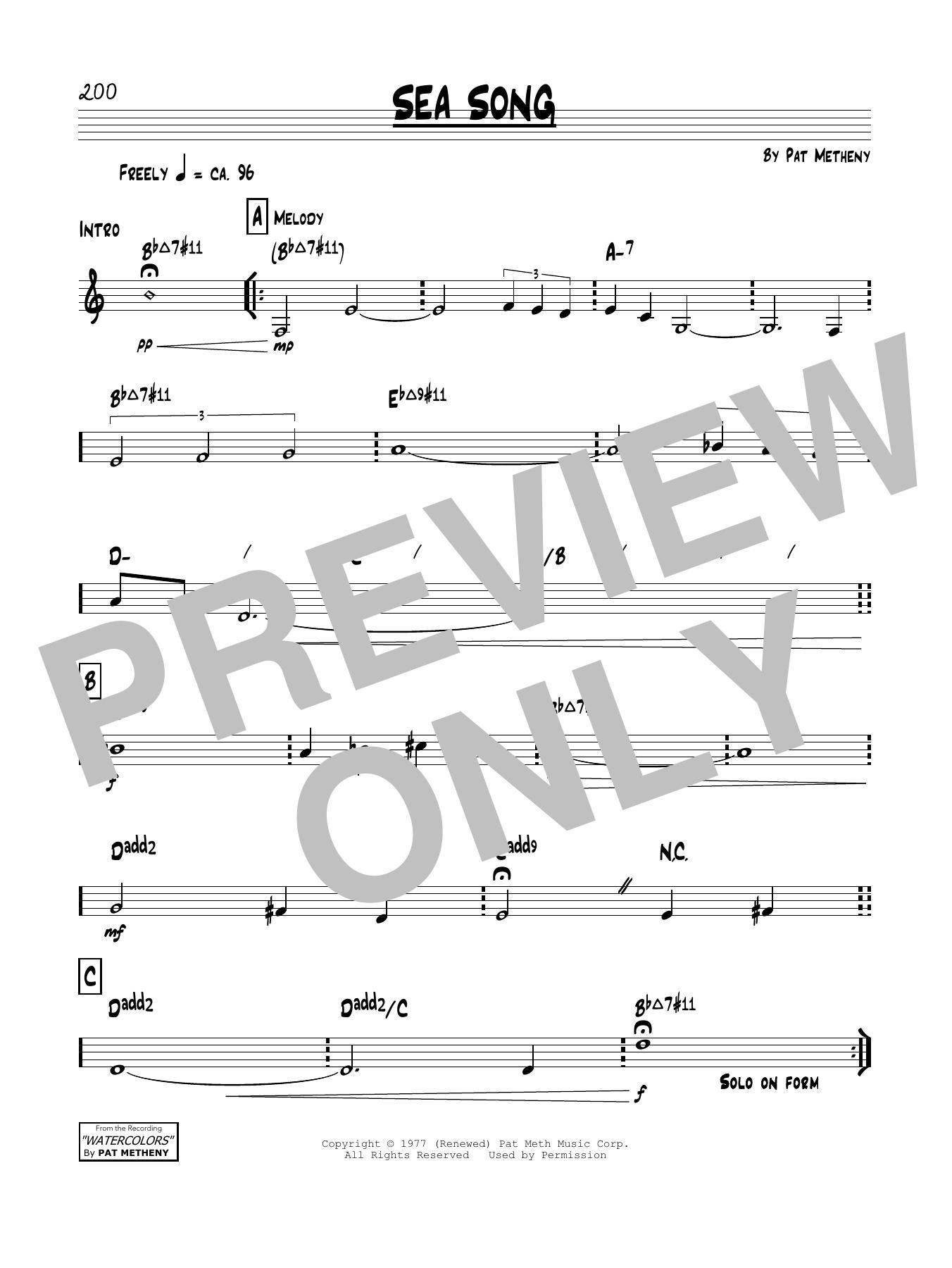 Pat Metheny Sea Song sheet music notes and chords. Download Printable PDF.