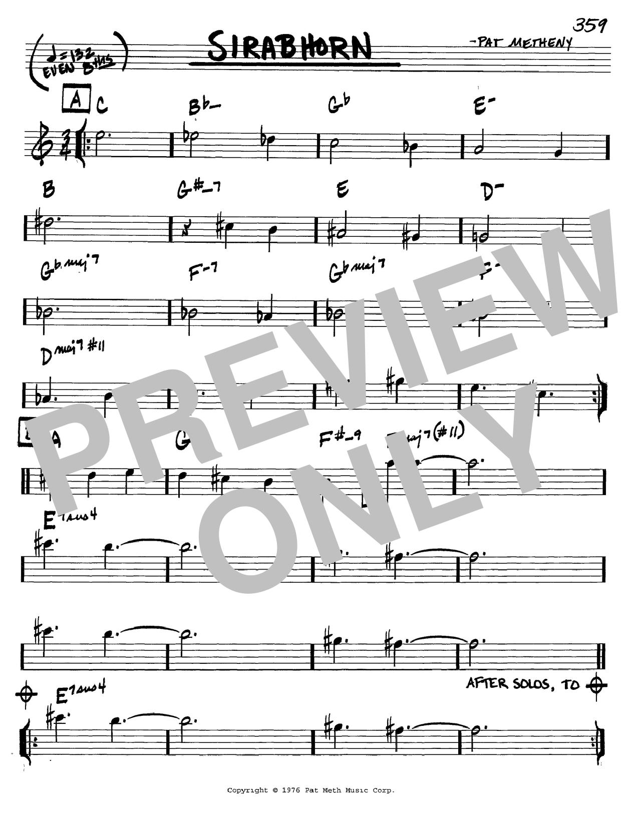 Pat Metheny Sirabhorn sheet music notes and chords. Download Printable PDF.