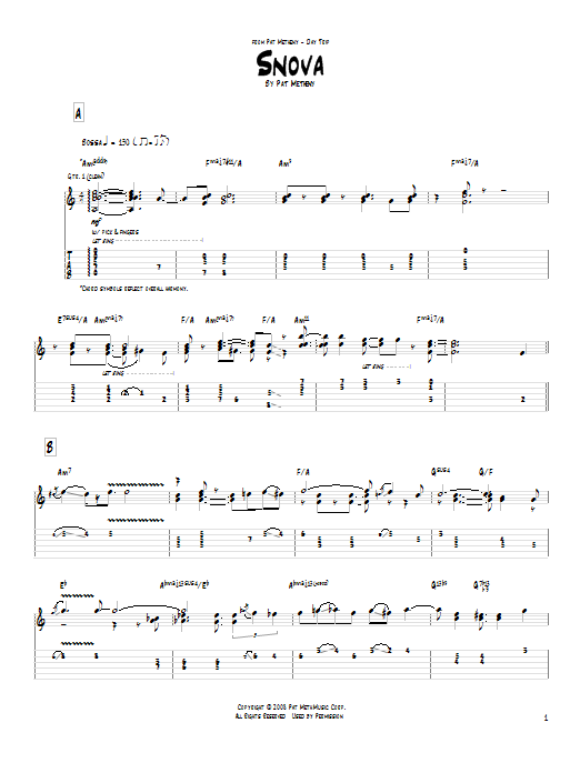 Pat Metheny Snova sheet music notes and chords. Download Printable PDF.