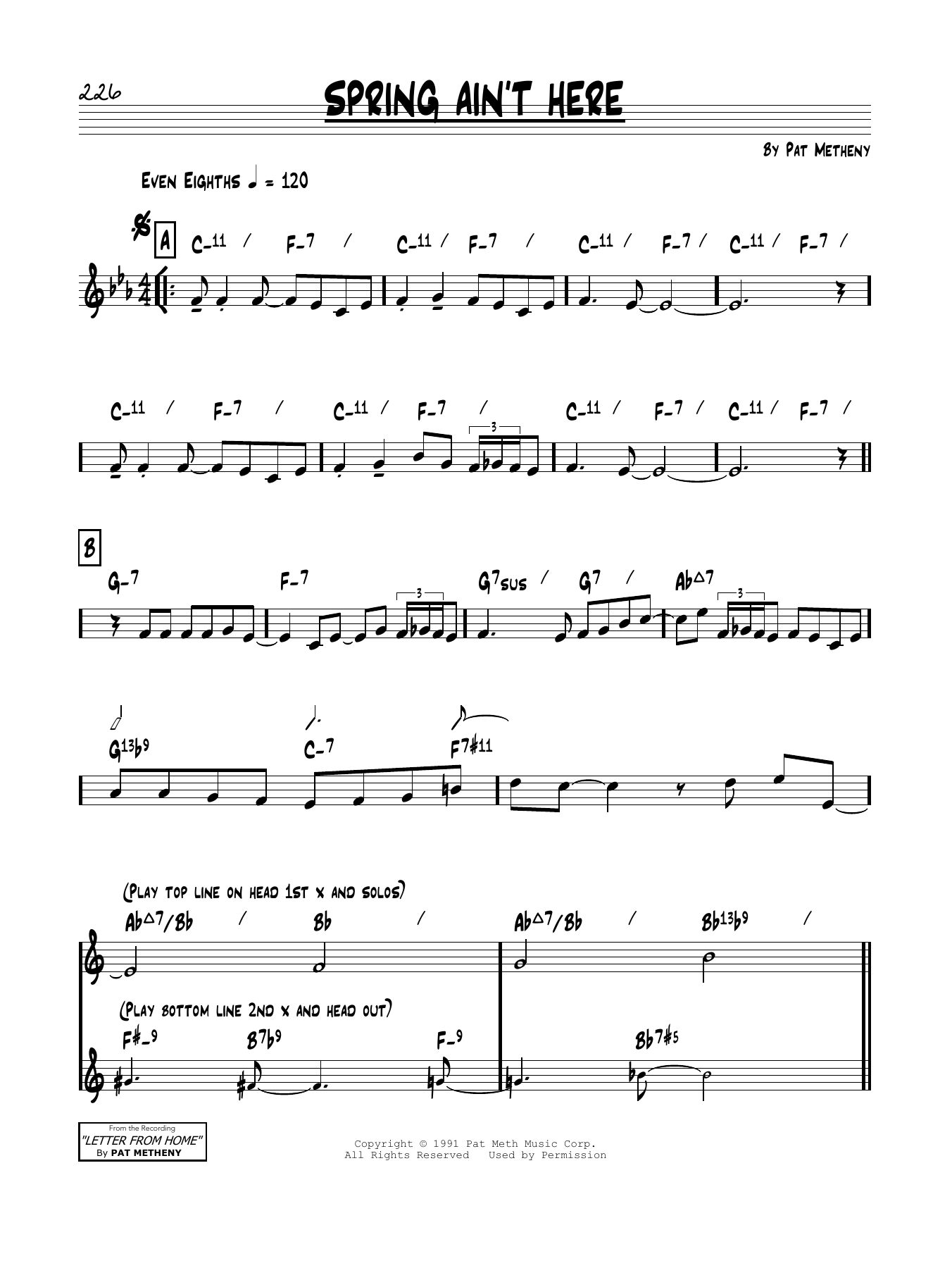 Pat Metheny Spring Ain't Here sheet music notes and chords. Download Printable PDF.