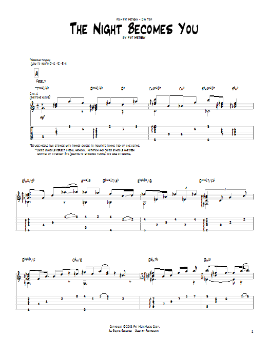 Pat Metheny The Night Becomes You sheet music notes and chords. Download Printable PDF.