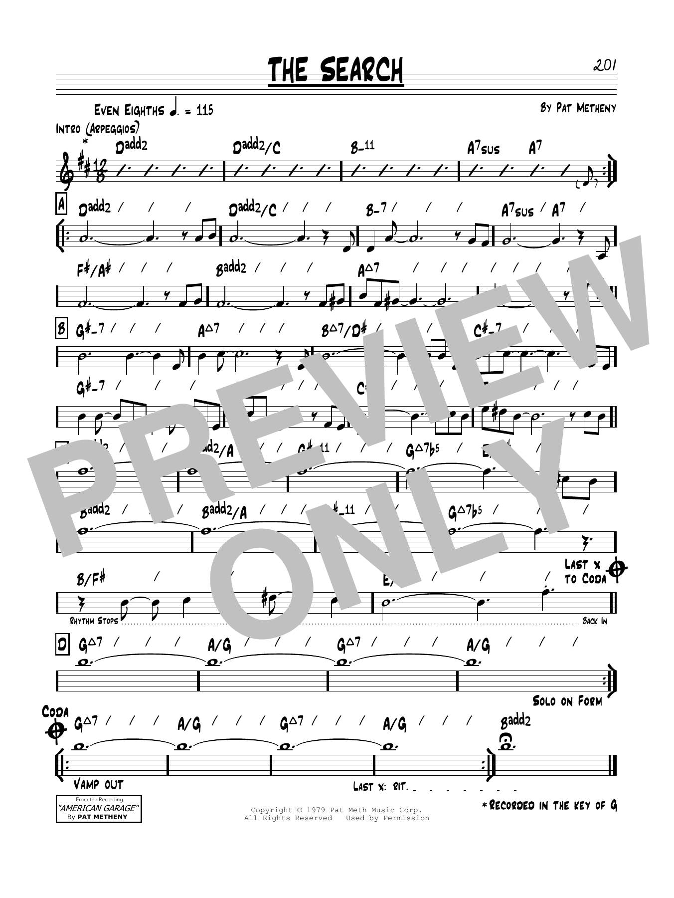 Pat Metheny The Search sheet music notes and chords. Download Printable PDF.