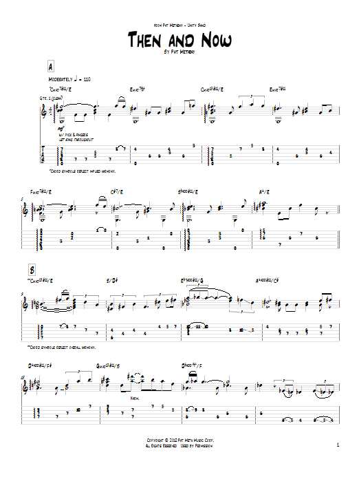 Pat Metheny Then And Now sheet music notes and chords. Download Printable PDF.