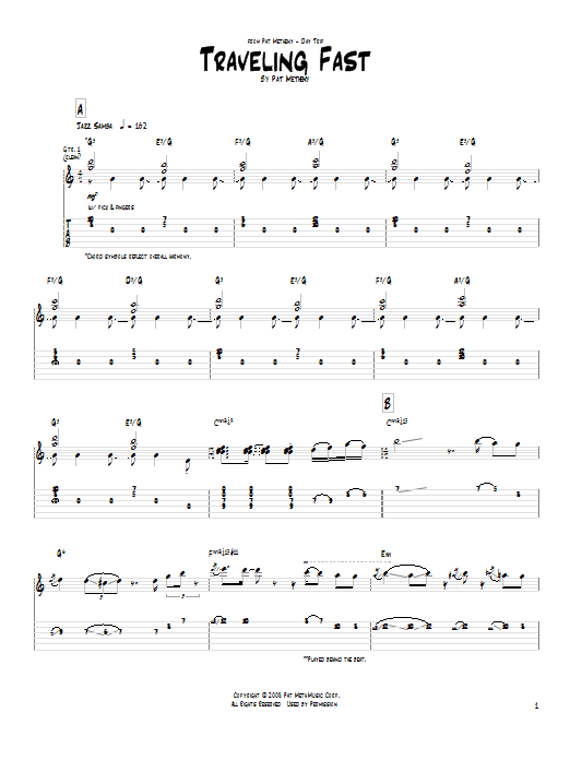Pat Metheny Traveling Fast sheet music notes and chords. Download Printable PDF.