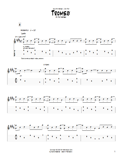 Pat Metheny Tromso sheet music notes and chords. Download Printable PDF.