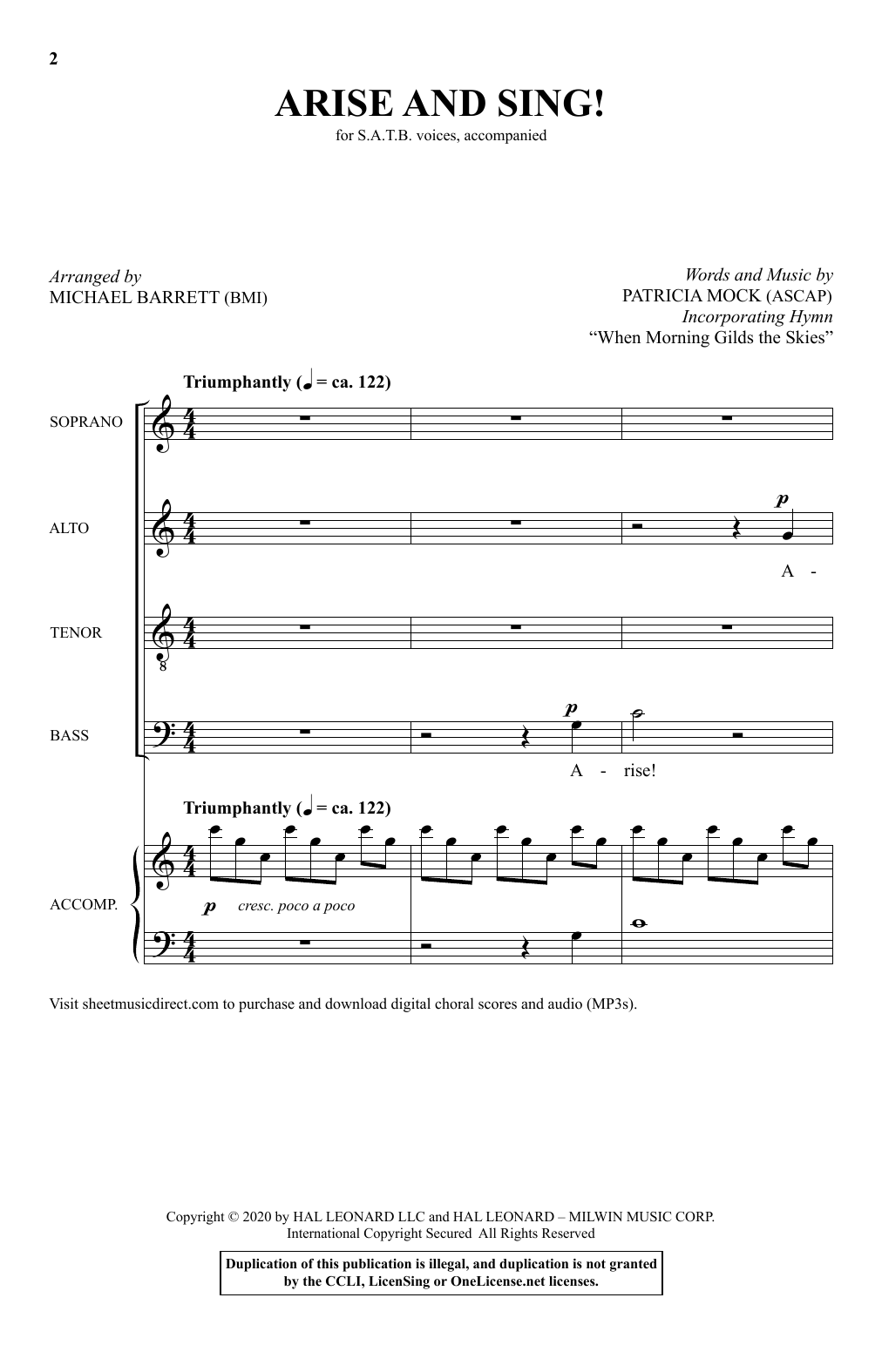 Patricia Mock Arise And Sing (arr. Michael Barrett) sheet music notes and chords. Download Printable PDF.