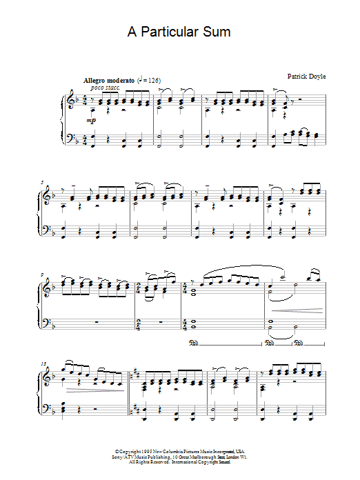 Patrick Doyle A Particular Sum (from Sense And Sensibility) sheet music notes and chords. Download Printable PDF.