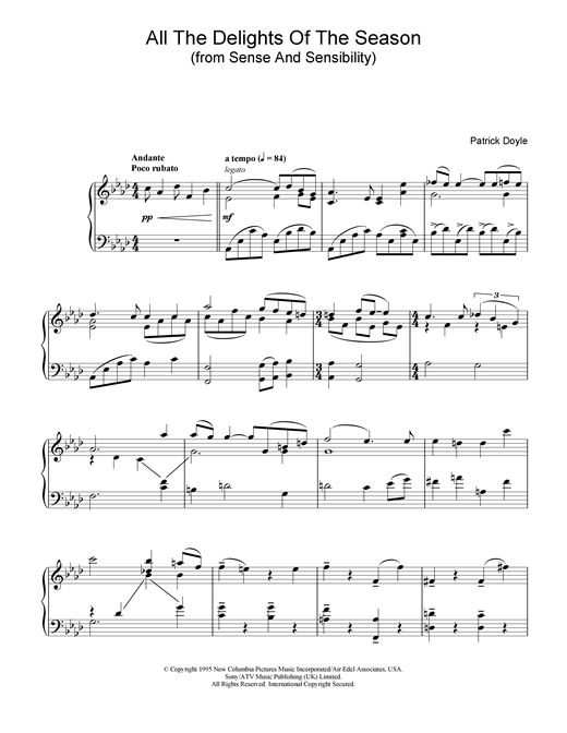 Patrick  Doyle All The Delights Of The Season (from Sense And Sensibility) sheet music notes and chords
