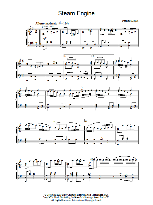 Patrick Doyle Steam Engine (from Sense And Sensibility) sheet music notes and chords. Download Printable PDF.