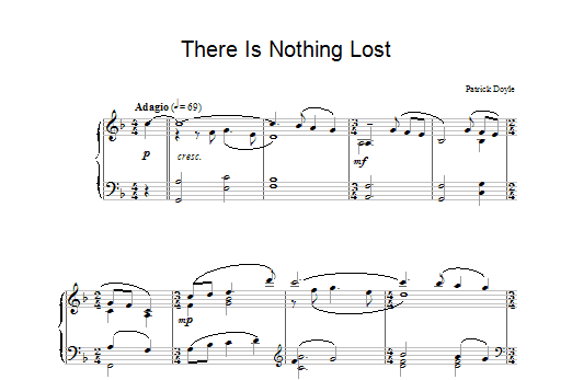 Patrick Doyle There Is Nothing Lost (from Sense And Sensibility) sheet music notes and chords. Download Printable PDF.