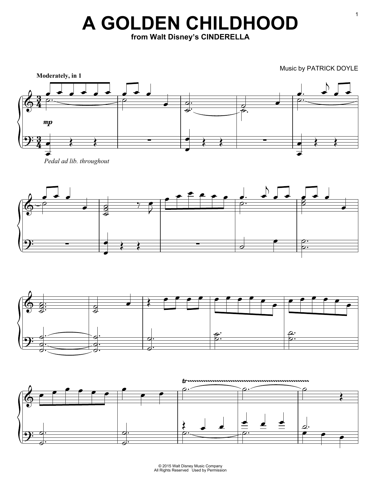 Patrick Doyle A Golden Childhood sheet music notes and chords. Download Printable PDF.