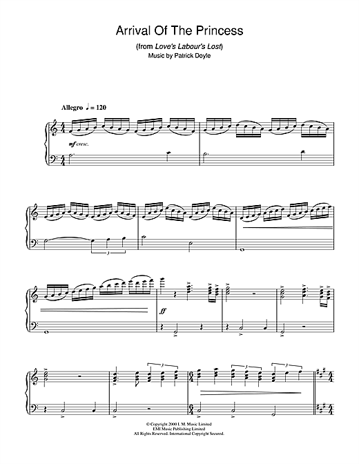 Patrick Doyle Arrival Of The Princess (from Love's Labour's Lost) sheet music notes and chords. Download Printable PDF.