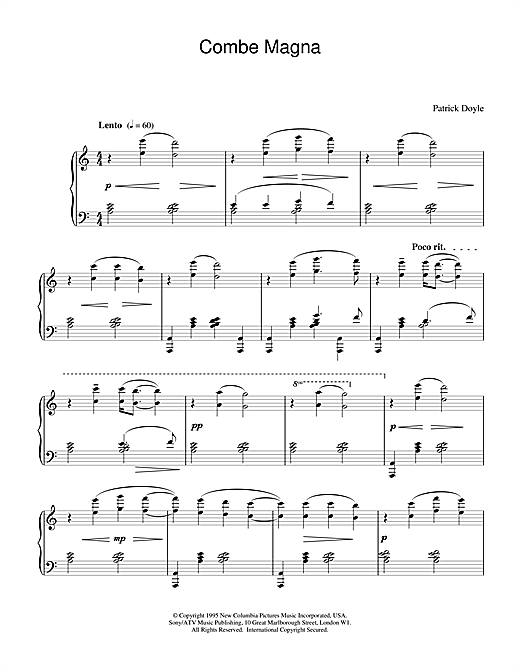Patrick Doyle Combe Magna (from Sense And Sensibility) sheet music notes and chords