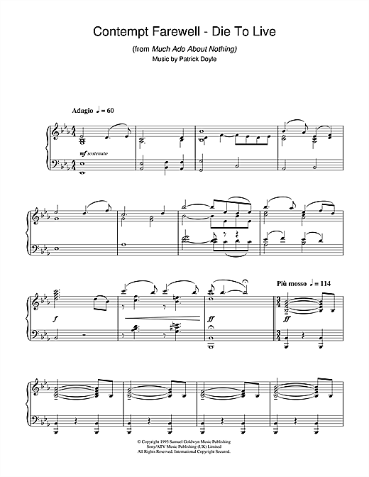 Patrick Doyle Contempt Farewell - Die To Live (from Much Ado About Nothing) sheet music notes and chords. Download Printable PDF.