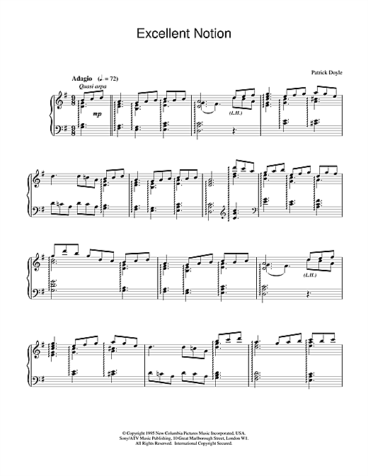 Patrick Doyle Excellent Notion sheet music notes and chords