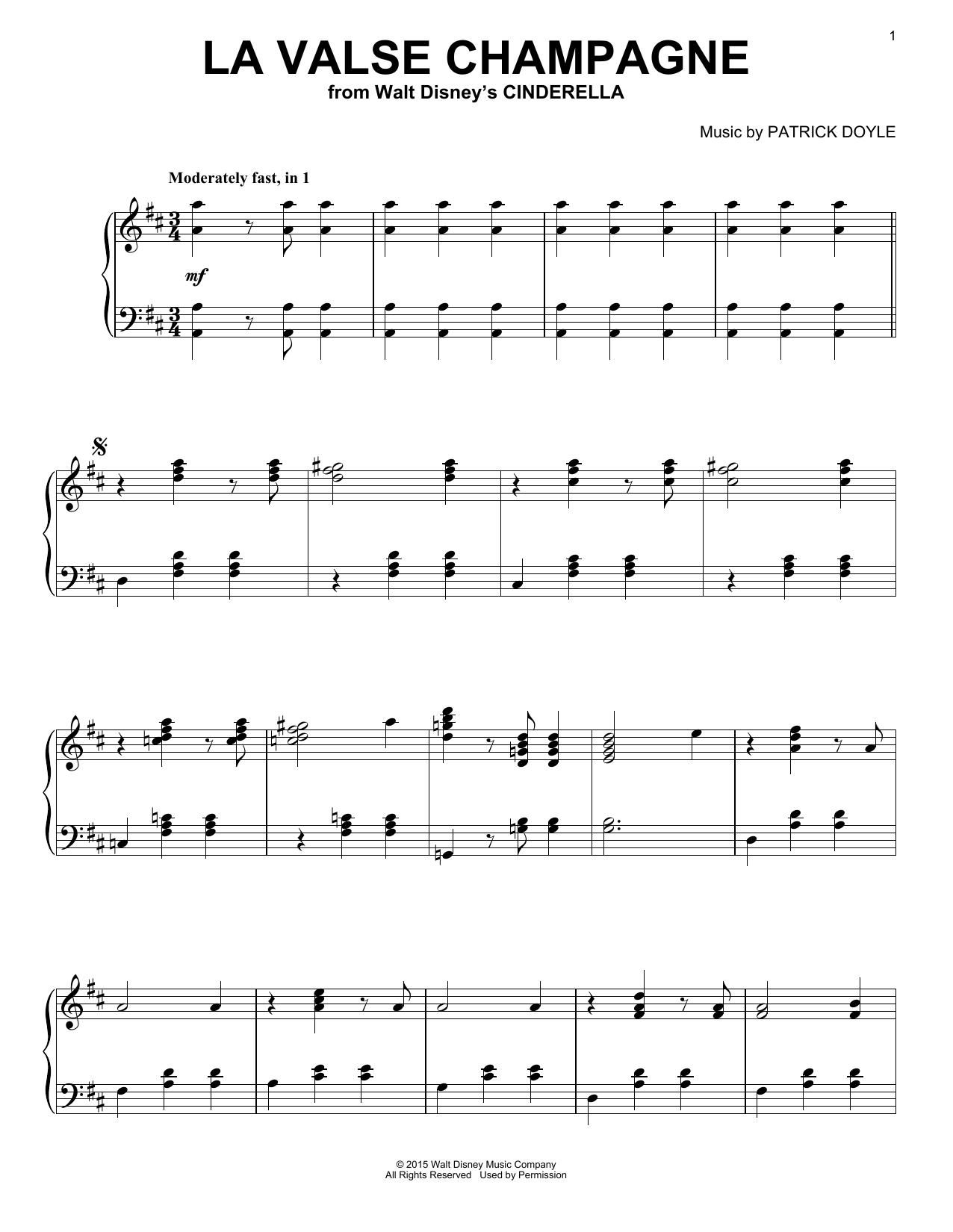 Patrick Doyle La Valse Champagne sheet music notes and chords