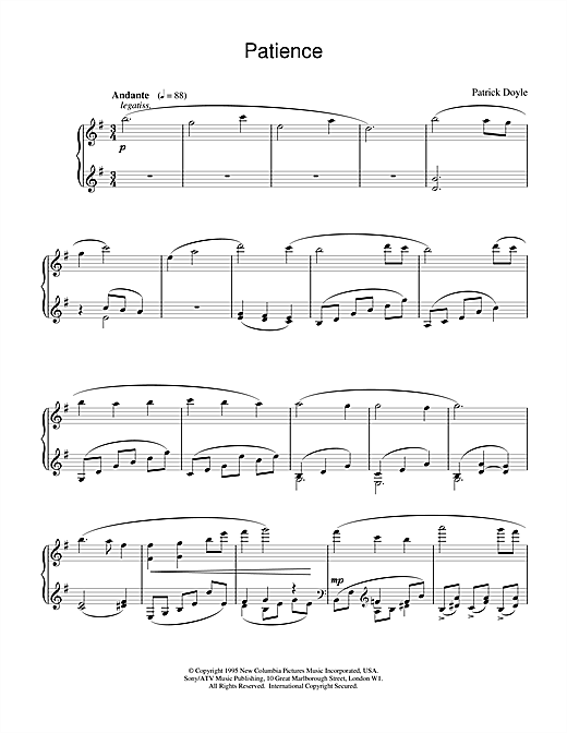 Patrick Doyle Patience (from Sense And Sensibility) sheet music notes and chords