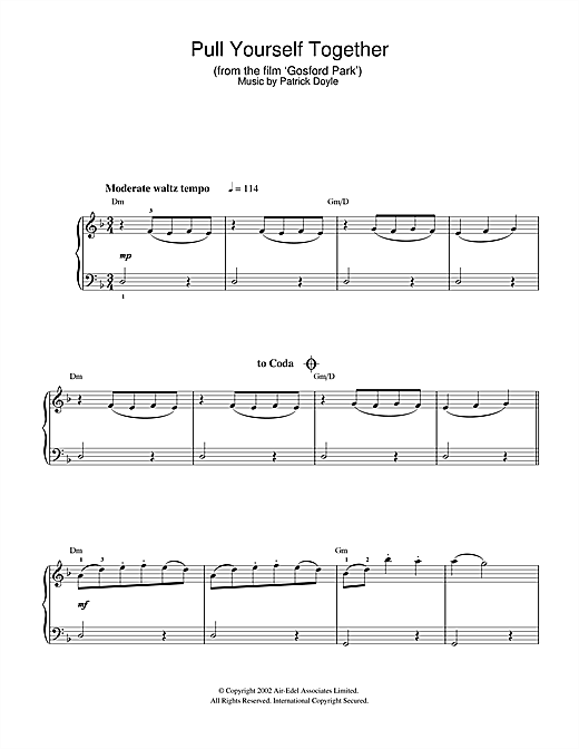 Patrick Doyle Pull Yourself Together (from Gosford Park) sheet music notes and chords