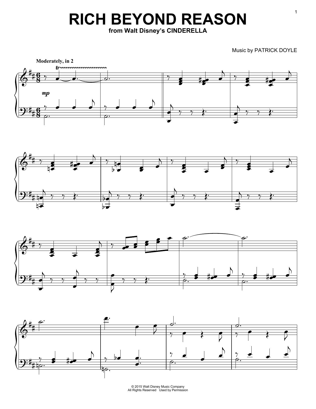 Patrick Doyle Rich Beyond Reason sheet music notes and chords. Download Printable PDF.