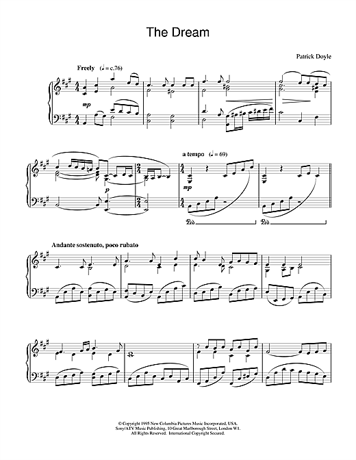 Patrick Doyle The Dreame (from Sense And Sensibility) sheet music notes and chords. Download Printable PDF.