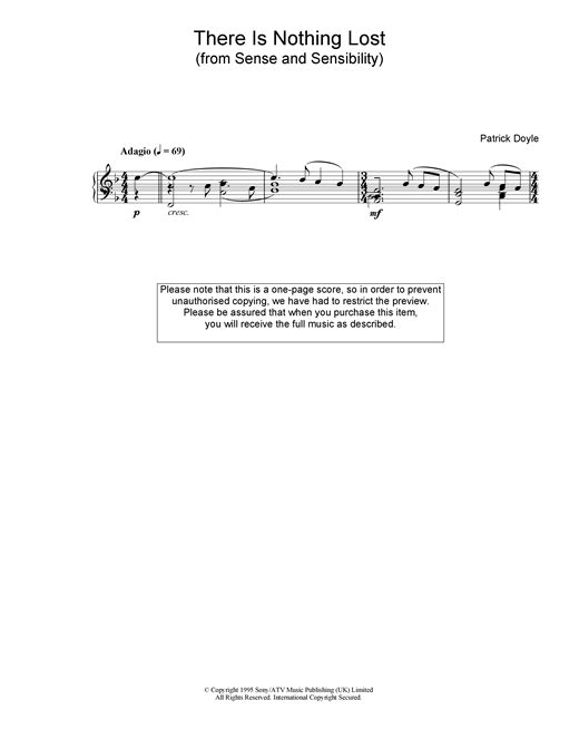 Patrick Doyle There Is Nothing Lost (from Sense And Sensibility) sheet music notes and chords