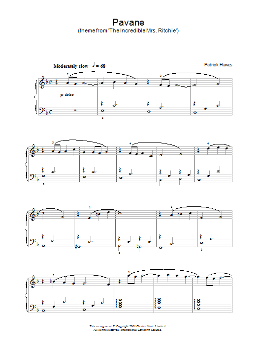 Patrick Hawes Pavane (theme from The Incredible Mrs Ritchie) sheet music notes and chords. Download Printable PDF.