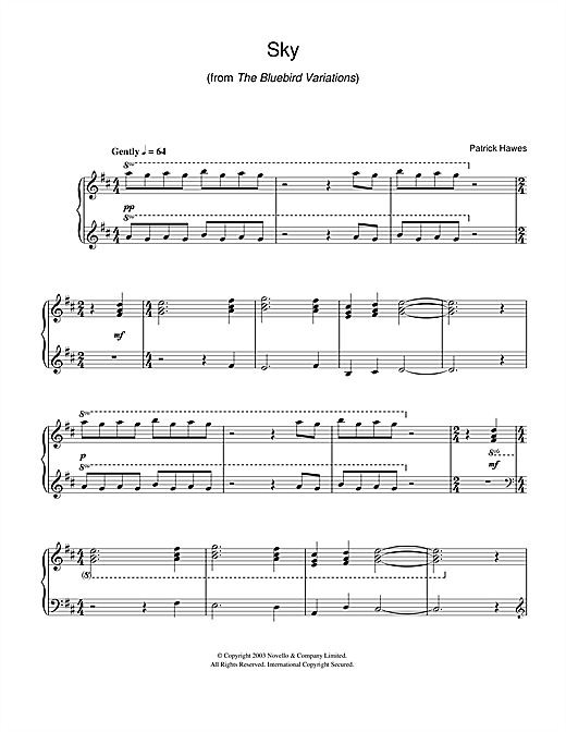 Patrick Hawes Sky (from The Bluebird Variations) sheet music notes and chords
