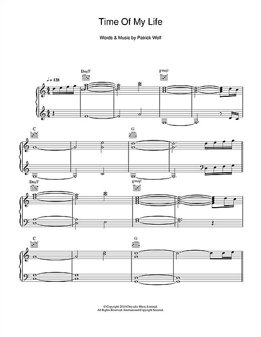 Patrick Wolf Time Of My Life sheet music notes and chords. Download Printable PDF.