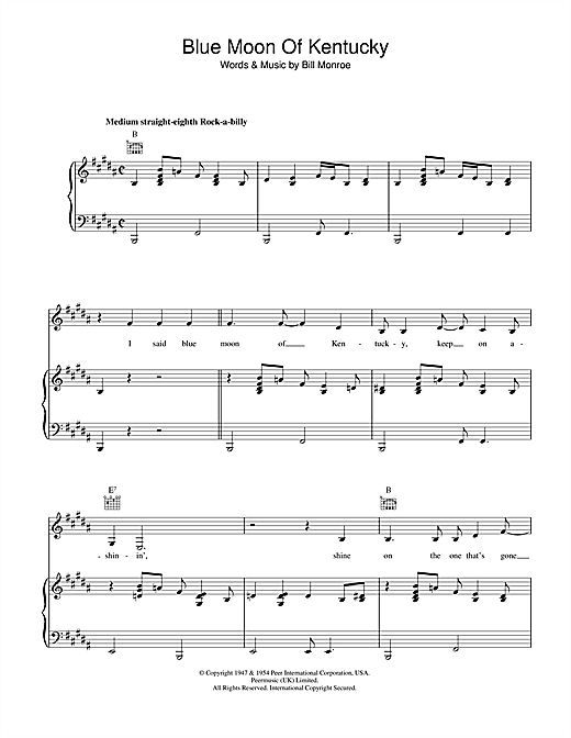 Patsy Cline Blue Moon Of Kentucky sheet music notes and chords