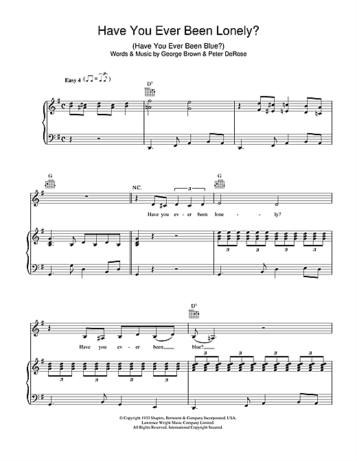 Patsy Cline Have You Ever Been Lonely sheet music notes and chords. Download Printable PDF.