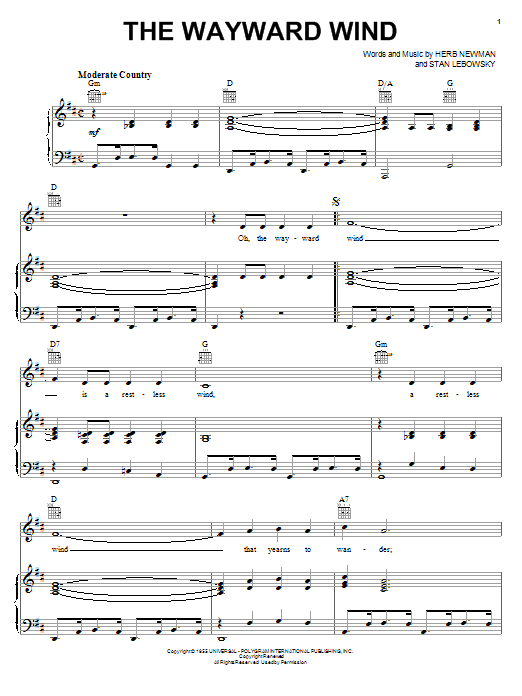 Patsy Cline The Wayward Wind sheet music notes and chords. Download Printable PDF.