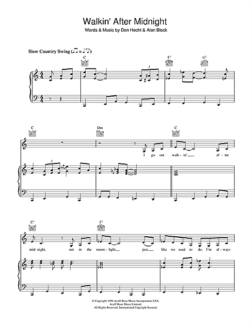 Patsy Cline Walkin' After Midnight sheet music notes and chords. Download Printable PDF.