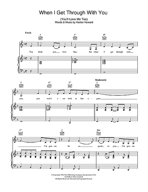 Patsy Cline When I Get Through With You (You'll Love Me Too) sheet music notes and chords. Download Printable PDF.