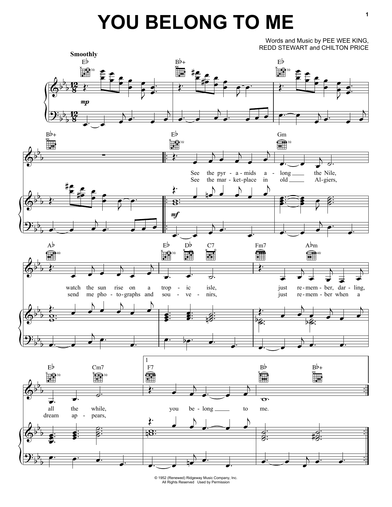 Patsy Cline You Belong To Me sheet music notes and chords. Download Printable PDF.