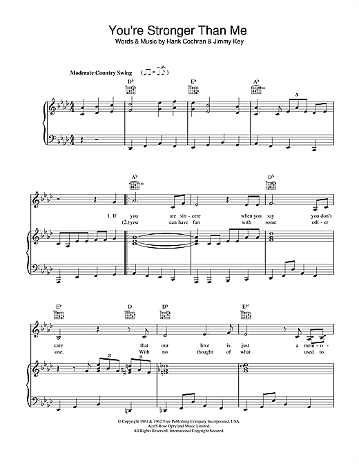 Patsy Cline You're Stronger Than Me sheet music notes and chords. Download Printable PDF.