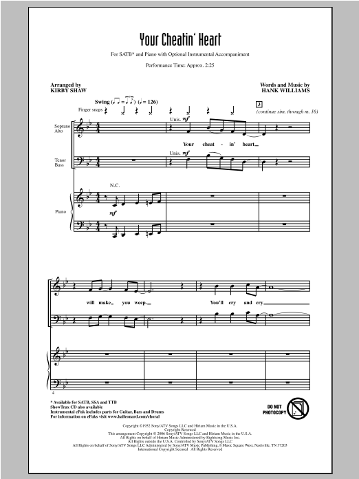 Patsy Cline Your Cheatin' Heart (arr. Kirby Shaw) sheet music notes and chords. Download Printable PDF.