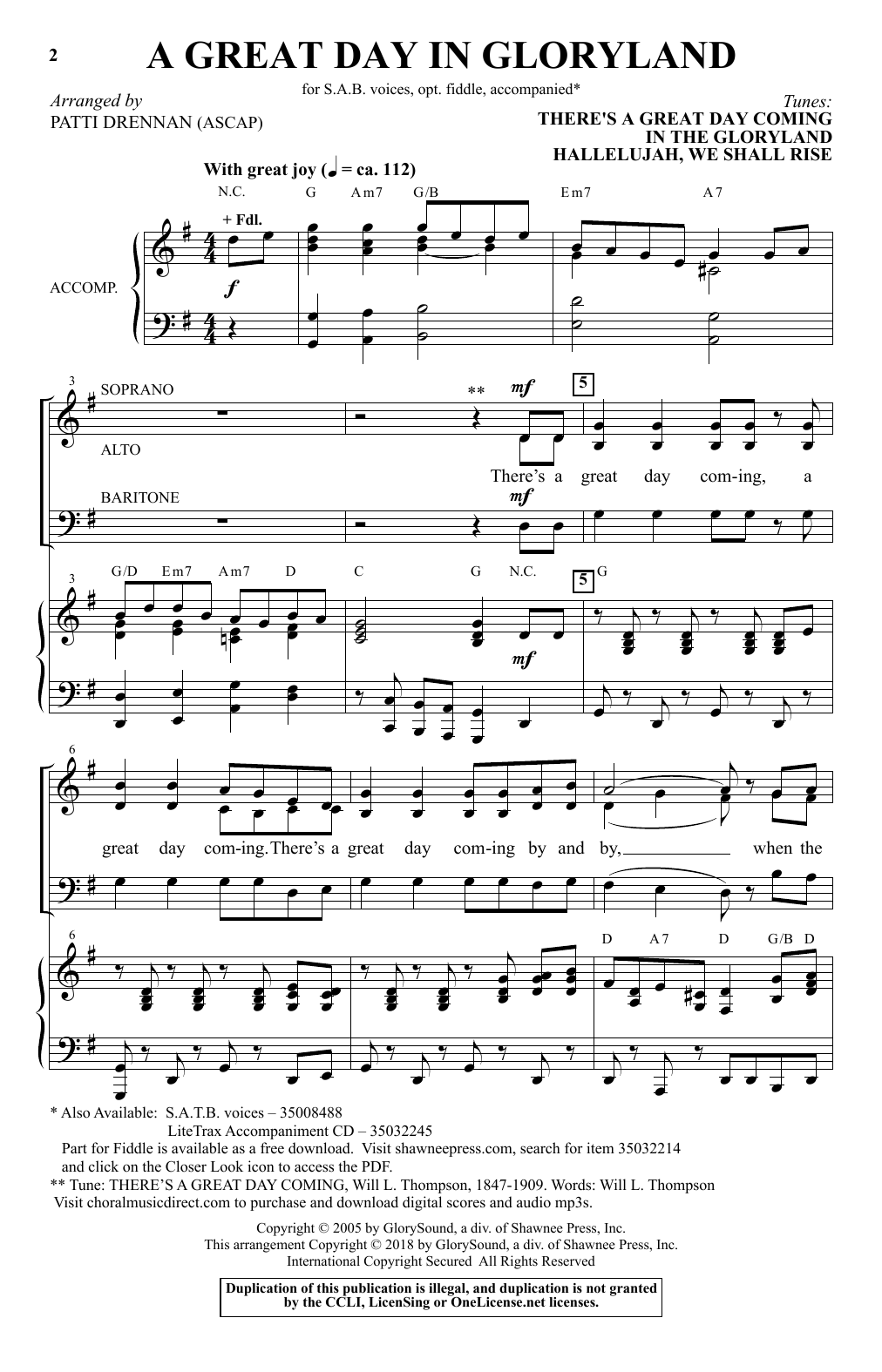 Patti Drennan A Great Day In Gloryland sheet music notes and chords