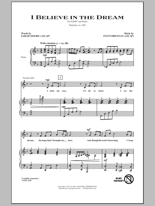 Patti Drennan I Believe In The Dream sheet music notes and chords. Download Printable PDF.