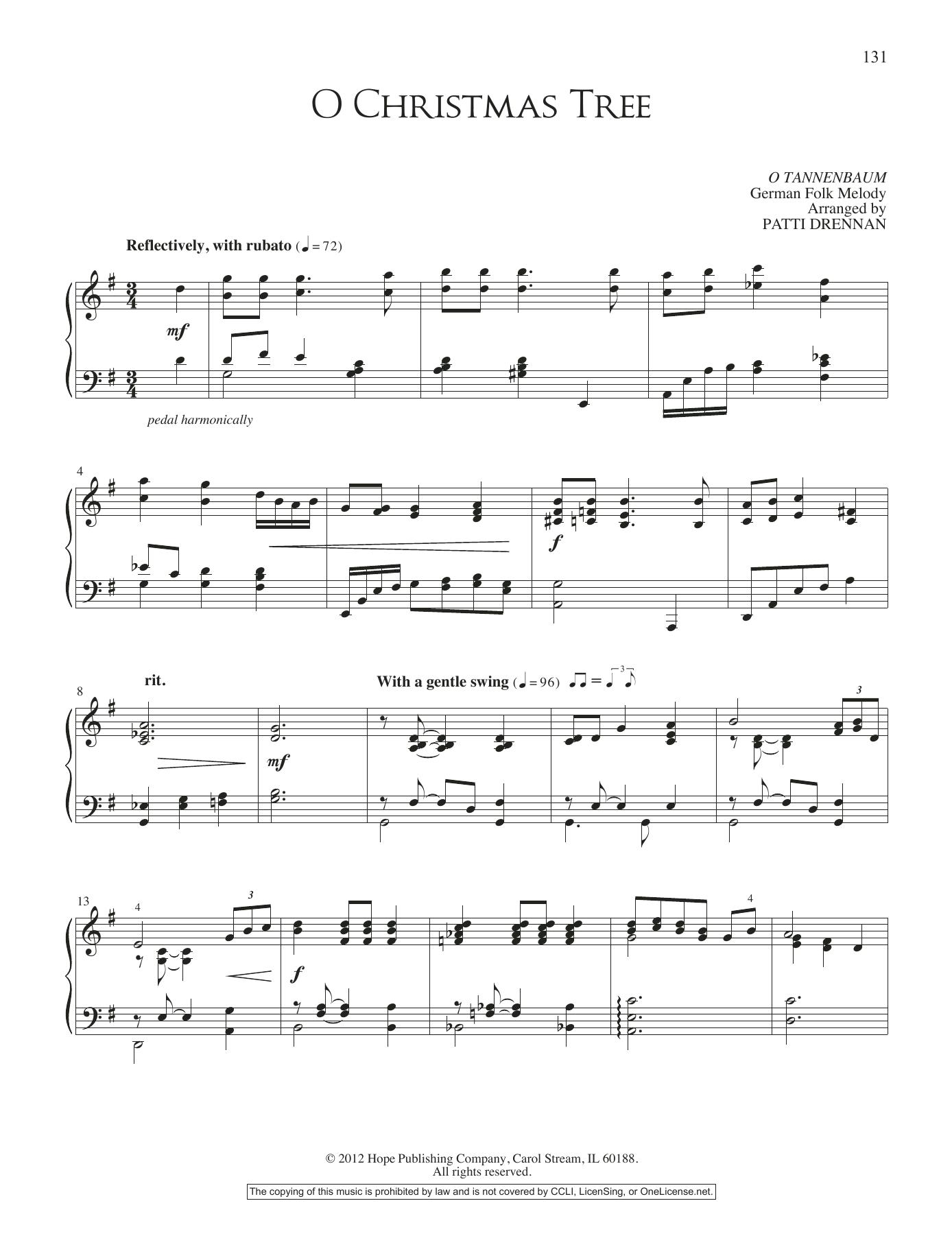 Patti Drennan O Christmas Tree sheet music notes and chords. Download Printable PDF.